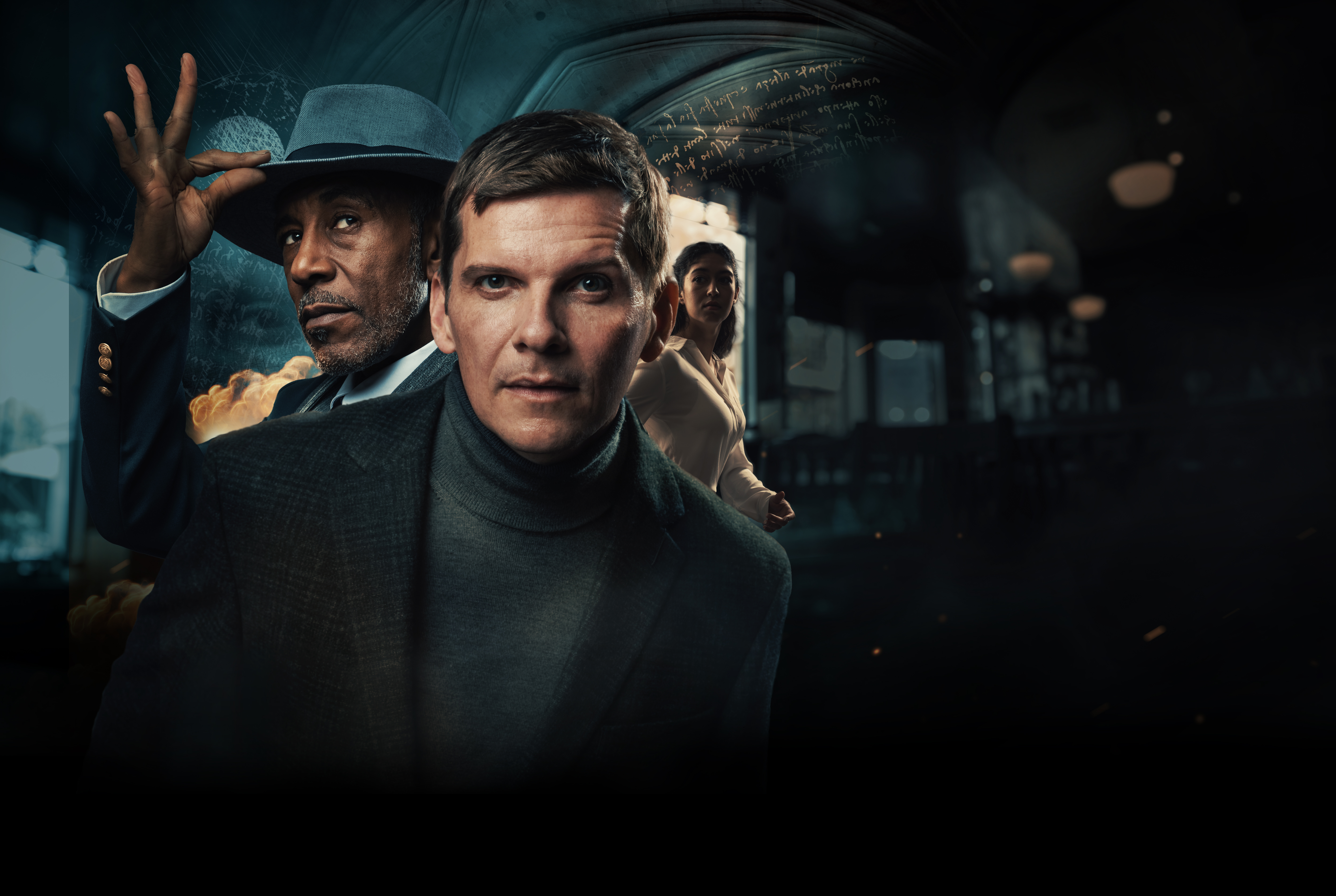 Background image of the cast